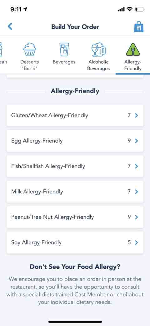Disney Mobile Ordering Allergy Friendly