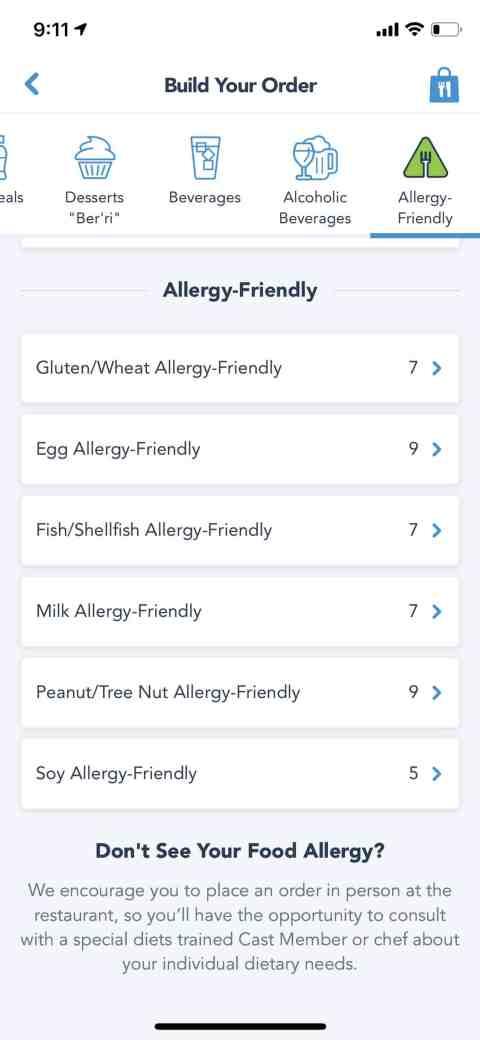 Disney Mobile Ordering Allergy Friendly
