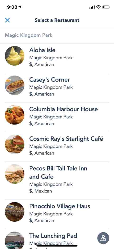 Mobile Ordering Restaurants at Disney