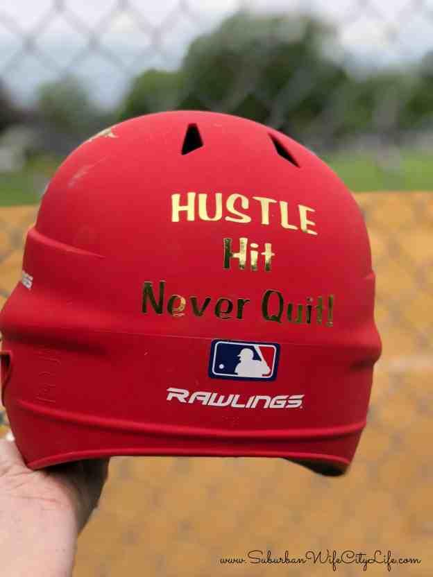 Hustle Hit Never Quit Softball Helmet