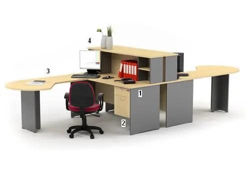 HighPoint Set Meja Kantor Kozy Mercury Series Workstation 3