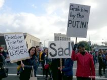 Oakland Women's March protestors with funny signs
