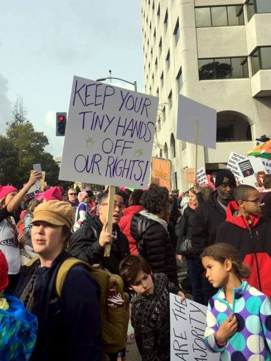 Oakland Women's March 2017 protest sign: Keep your tiny hands off our rights