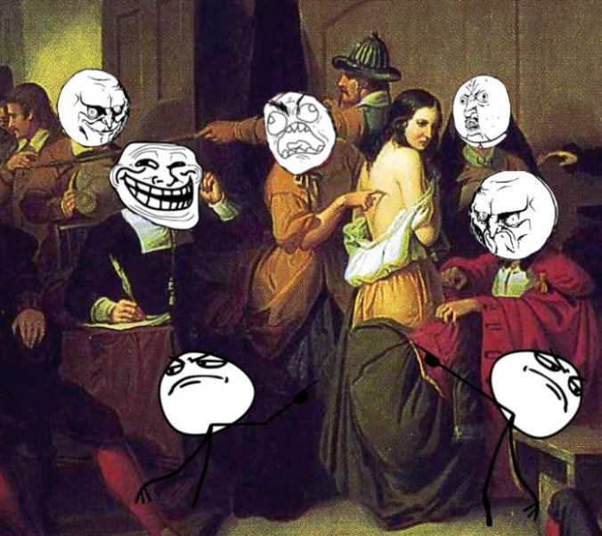 detail of matteson's examination of a witch hunt with rage faces