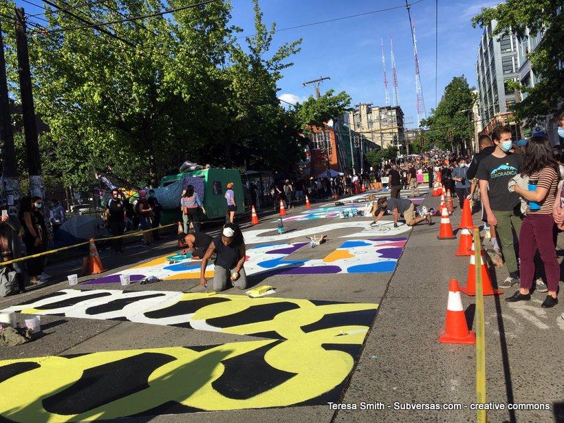 mural in progress at Capitol Hill autonomous zone