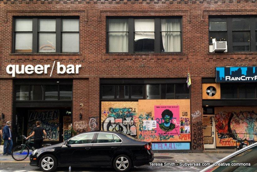 graffiti outside queer bar, CHAZ