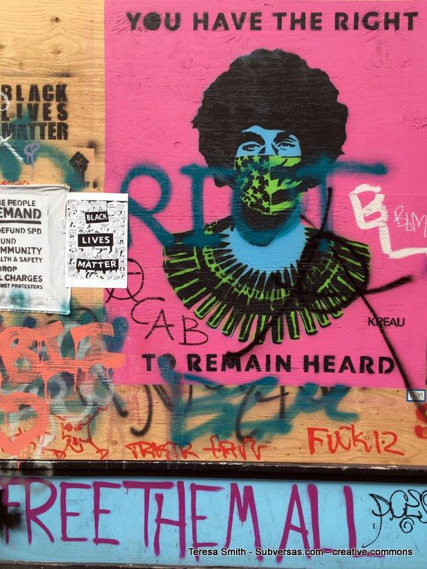 Close up of graffiti in Capitol Hill autonomous zone