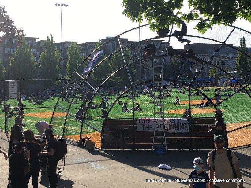 baseball diamond at Capitol Hill autonomous zone