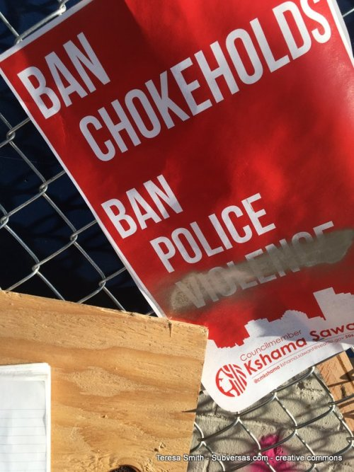 "Sign reading ""Ban chokeholds, ban police violence,"" but the word ""violence ""is crossed out."