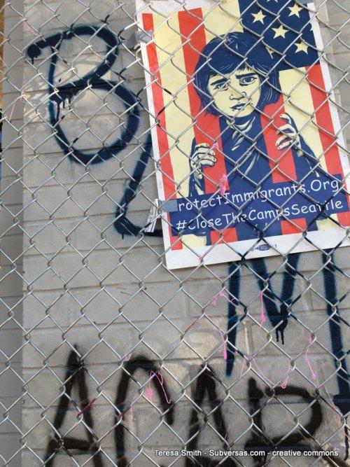 Shepard Fairey poster at capital hill autonomous zone