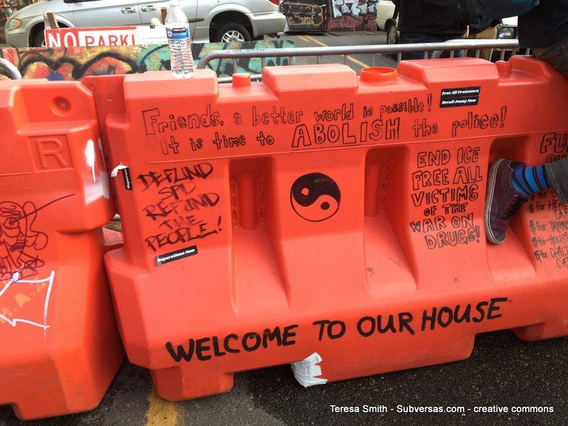 painted barricade Capitol Hill autonomous zone