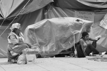 Una vendedora espera de clientes en las inmediaciones del campamento que mantienen profesores de la CNTE en el monumento a la Revolución. Fotografía: Martina Oliveiro