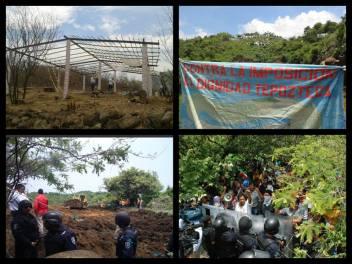 """El desalojo en el campamento """"El caudillo del sur""""/Fotografía: Frente Juvenil en Defensa de Tepoztlán y Arely Ayala"""