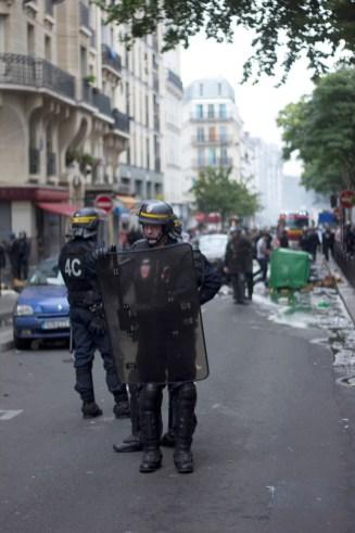 Bloqueo de la zona con mayor caos durante la manifestación.