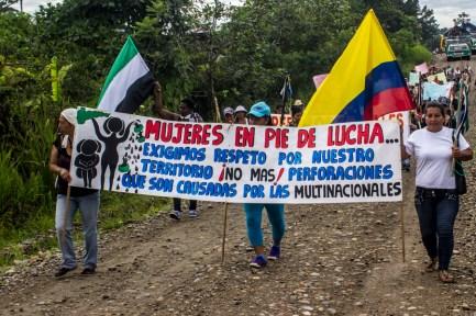 Mujeres en pie de lucha, Exigimos respeto por nuestro Territorio !No más¡ Perforaciones que son causadas por las multinacionales.