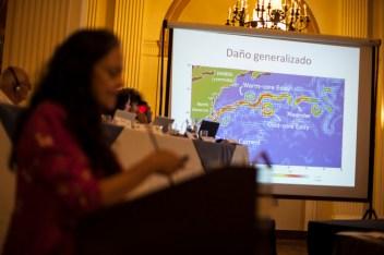 Esperanza Matínez, de la organización Oil Watch, presentó el caso de la explosión en 2010 de la plataforma petrolífera ubicada en el Golfo de México que causó el derrame de aproximadamente 5 millones de barriles de crudo, y la muerte de 11 trabajadores. Foto: Juliana Bittencourt