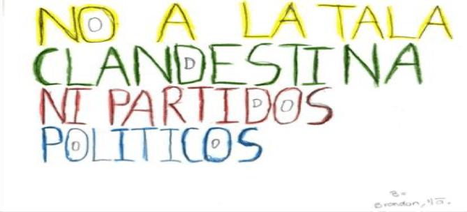 Voz y pancarta de los niños. Fotografía: Jurhamuti J. Velázquez