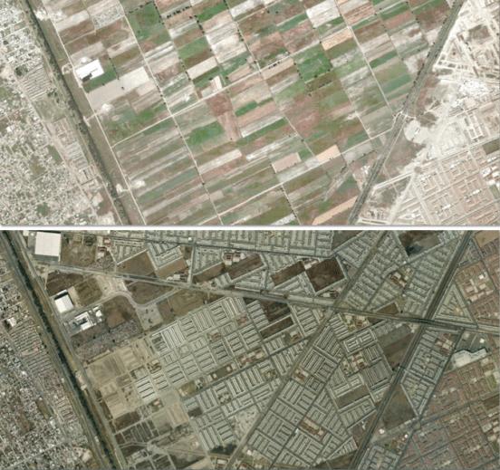 Las parcelas agrícolas que subsistían en 2003 al sur del municipio ha sido destruidas. Imagen de Google Earth