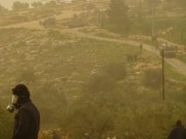 El aire es amarillo por la neblina y el gas este viernes en Bil'in. Fotografía: Susana Norman