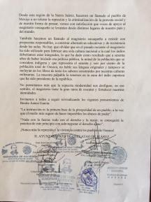 Pronunciamiento del pueblo de Guelatao de Juárez y adhesiones de autoridades municipales de la Sierra Juárez