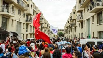 Una llamada de Candombe arriba al callejón de la cooperativa Covireus, finalizada en 2012 en el histórico Barrio Sur