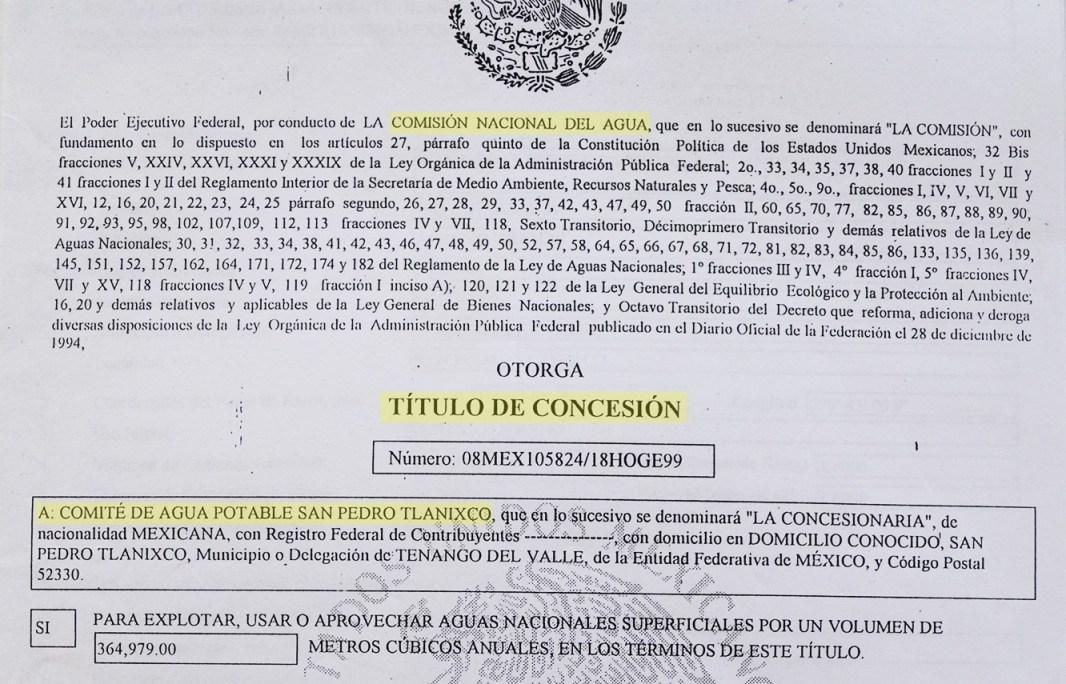 Título de concesión otorgado por la CONAGUA al Comité del Agua Potable de Tlanixco en el año 2000. Archivo: Movimiento por la libertad de los defensores del agua y la vida de San Pedro Tlanixco.