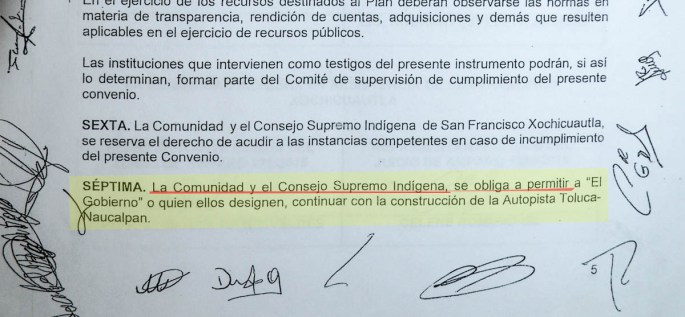 """09.- Clausula SÉPTIMA del convenio firmado el 4 de Junio del 2018 entre autoridades estatales, federales, la empresa y """"los quejosos."""" Fotografía: José Luis Santillán, tomada el 25 de Marzo del 2019."""