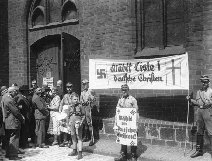SA Troops outside a Pro-Nazi Church in 1923 - From alpha history website