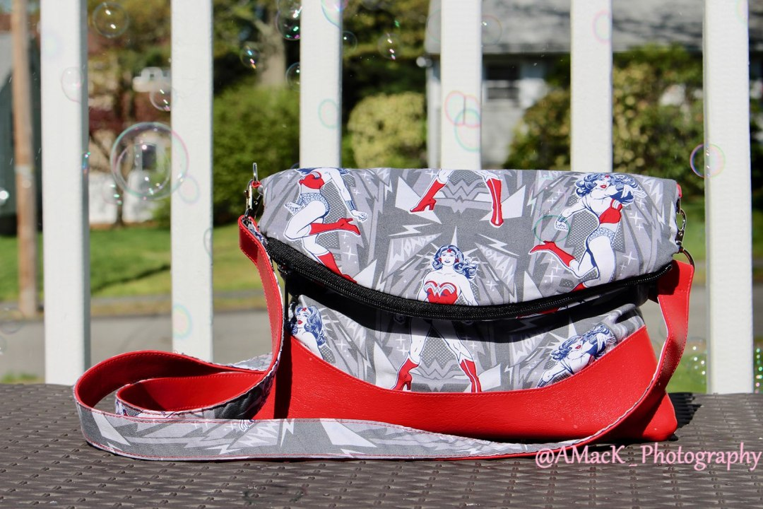 Custom heidi shoulder bag in red white and blue print with red vinyl
