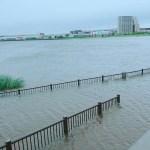 大雨で増水した河川の画像