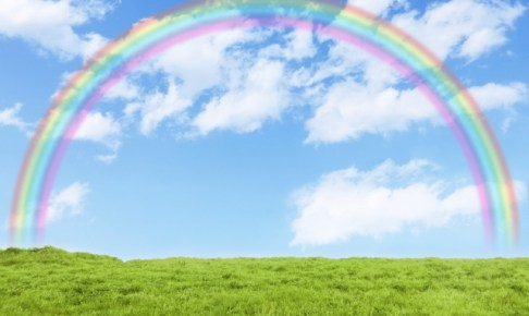 草原と青空と虹の画像