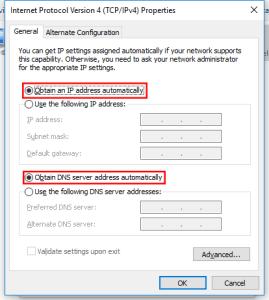 Obtain an IP address automatically and Obtain DNS server address automatically