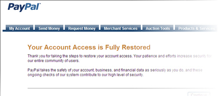 Paypal banned account restored