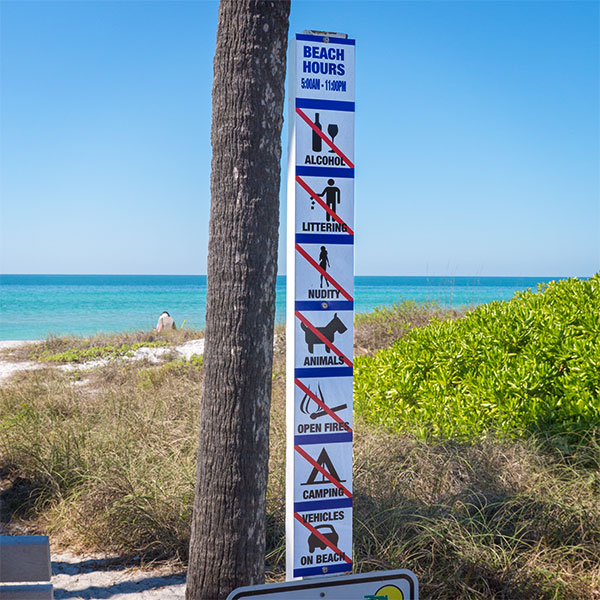 no beach sign. Longboat Key.