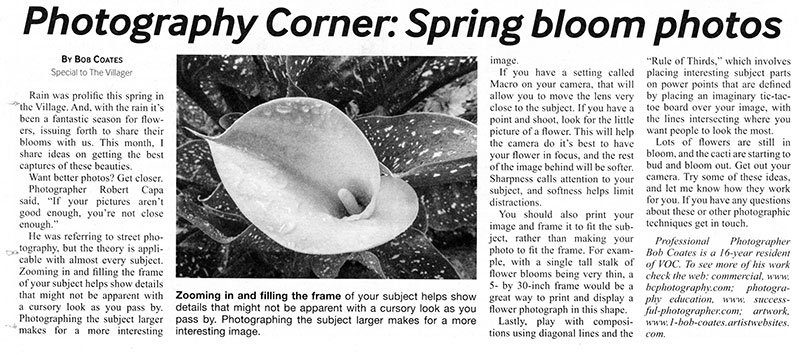 newspaper article on photography