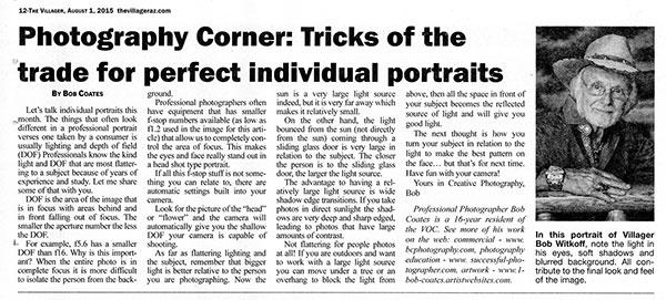 article written for villager newspaper