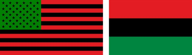 The African-American flag and the Pan-American flag, both representing the African diaspora.