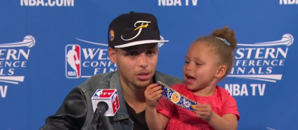 Seth Curry at Post-Game Conference with daughter, Riley.