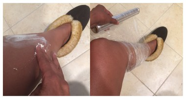 Apply shea butter and wrap your legs overnight in plastic wrap to treat extremely dry skin