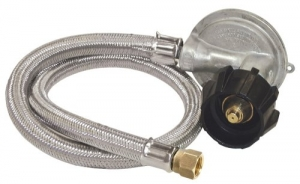 Bayou Classic M5LPH, 36 Stainless Braided Low Pressure Hose, 1 PSI Regulator, 3 8 Flare Swivel Fitting