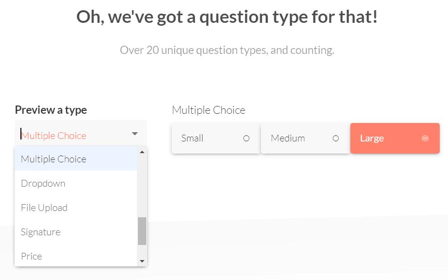 Paperform's  question drop-down menu.
