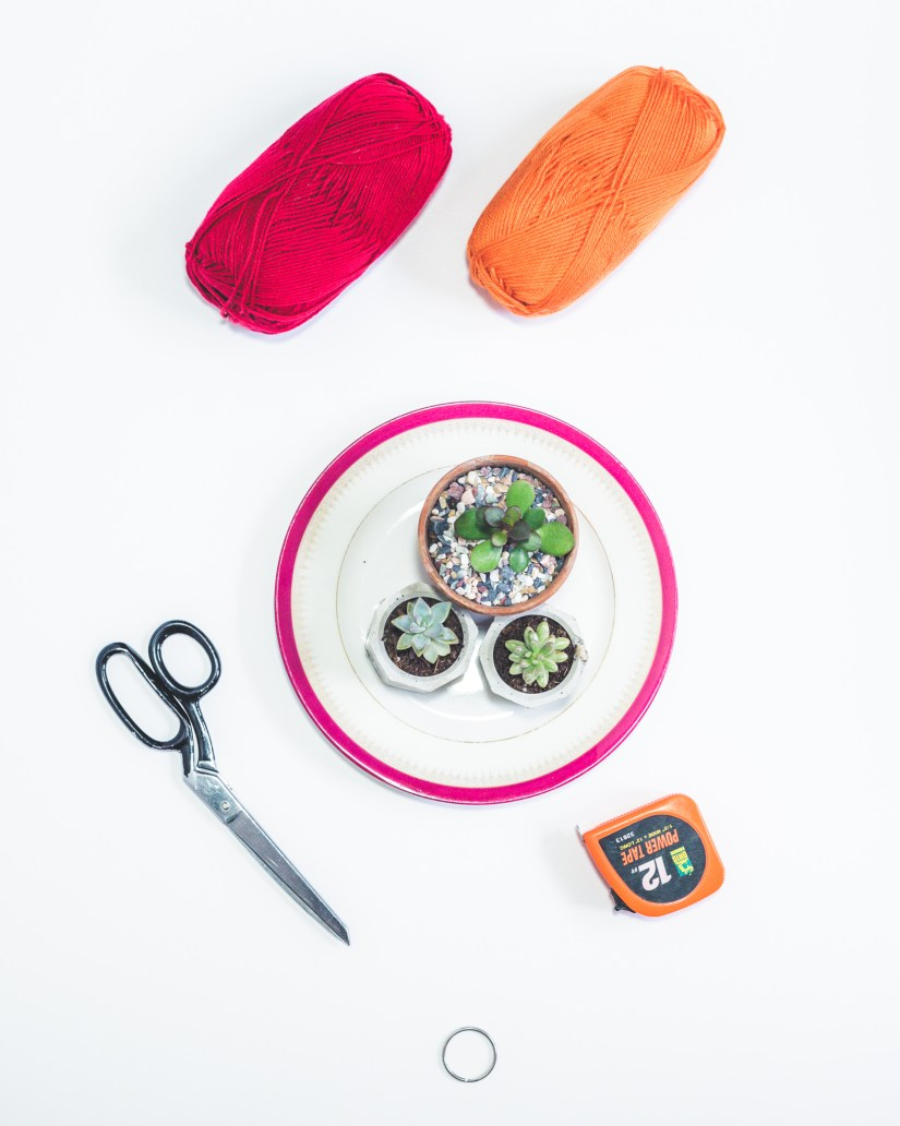 Flat Lay of Yarn, Succulents, and measuring tape, scissors, and a ring for the hanger.