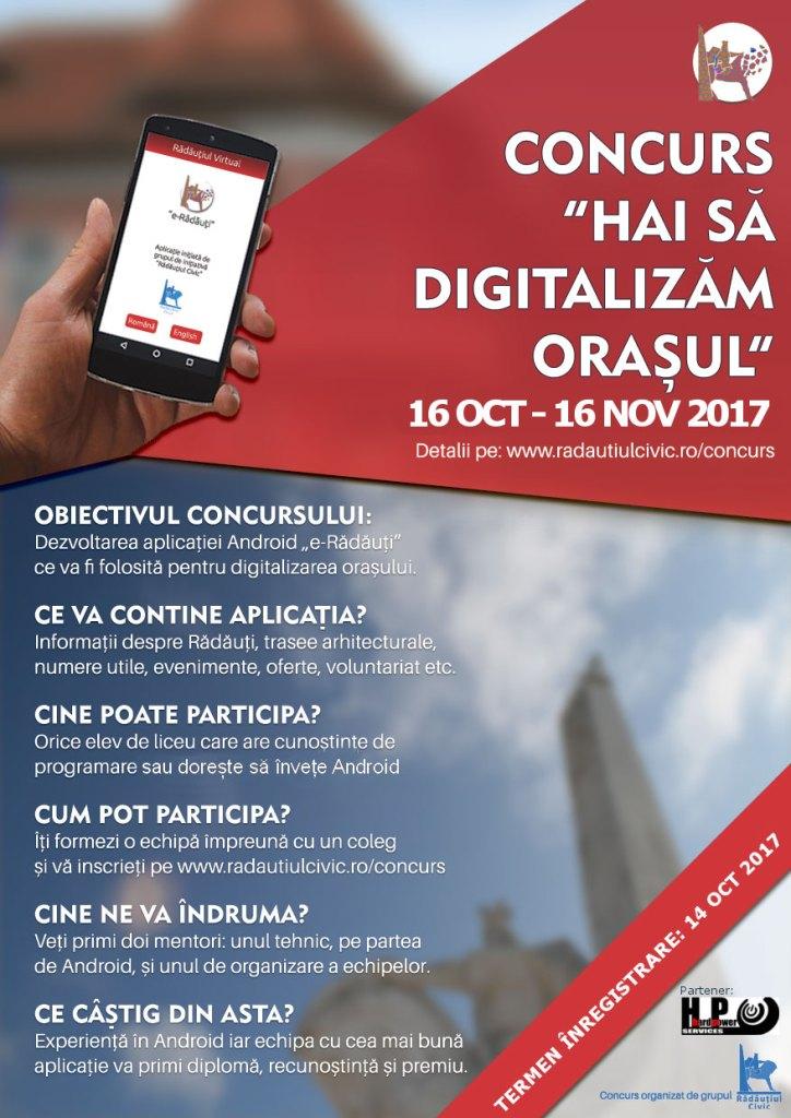 """Rădăuțiul civic lansează concursul """"Hai să digitalizăm orașul"""""""