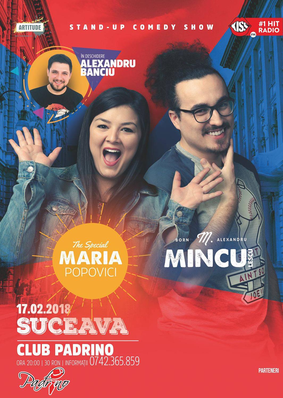 Stand-up comedy cu Maria Popovici, Mincu și Alexandru Banciu