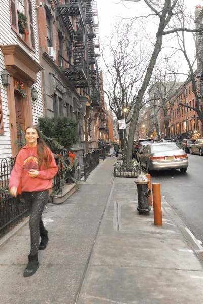 Walking through the streets of Greenwich Village in New York City.