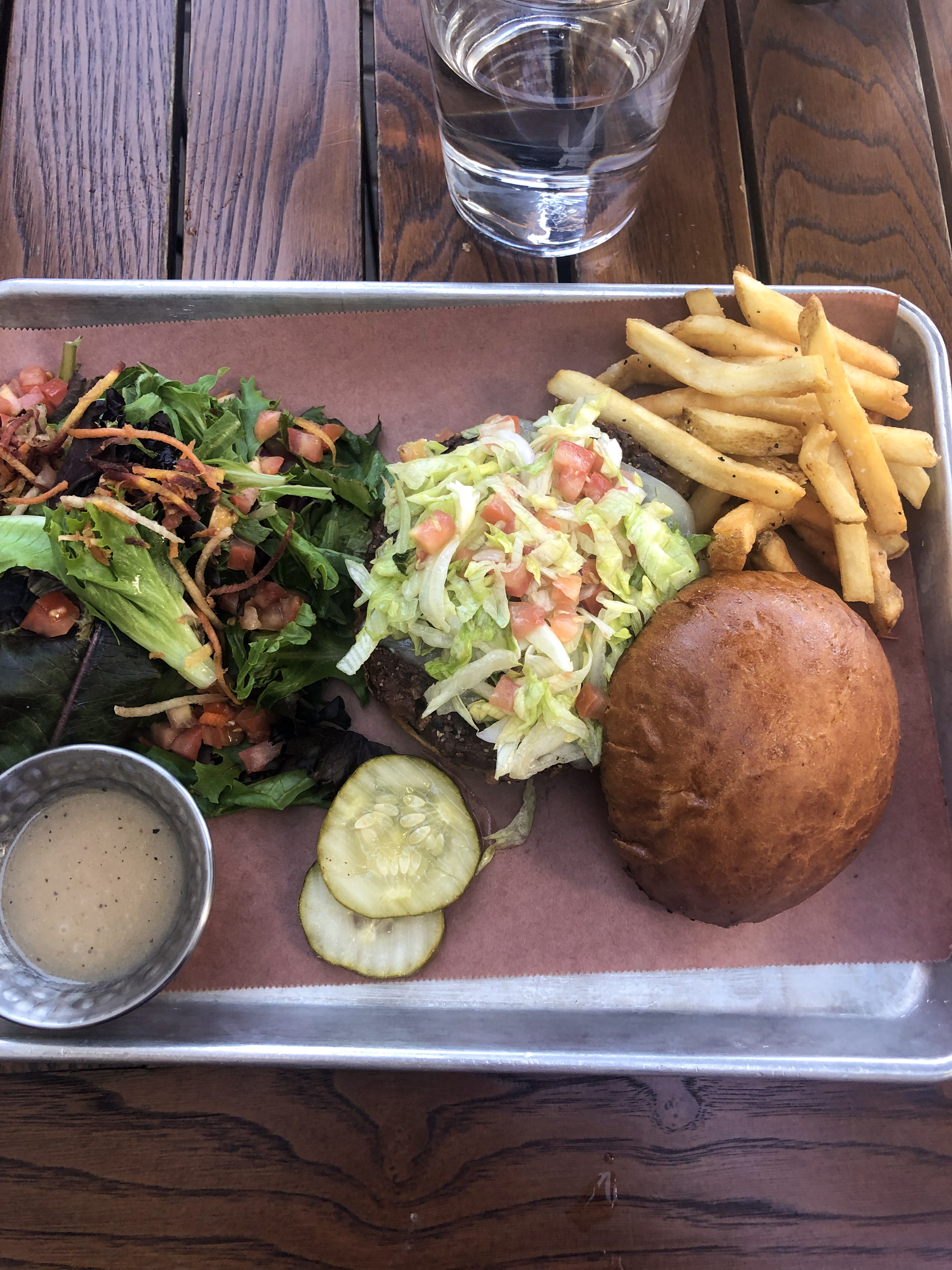 Beyond Veggie Burger with french fries and side salad in downtown Crested Butte.