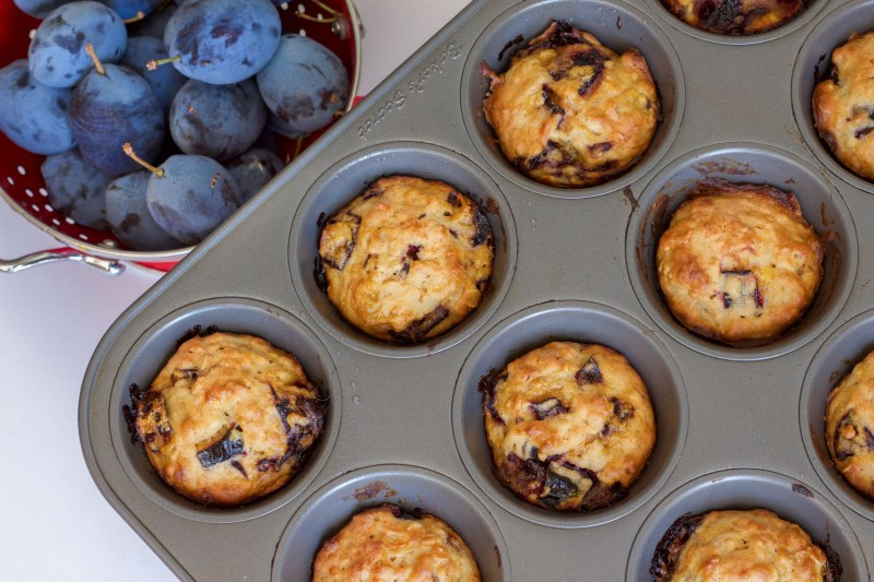 Baked vegan plum muffins cooling in muffin tin.