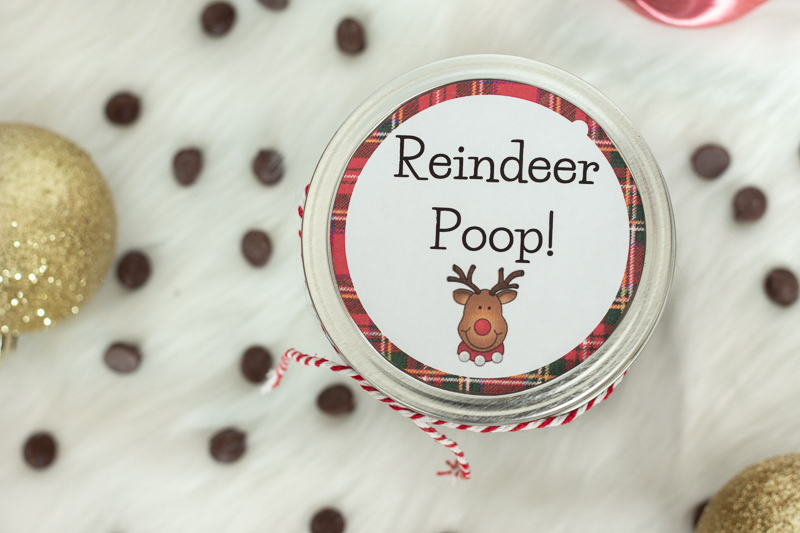 Reindeer Poop Mason Jar Printable with Chocolate Chips.