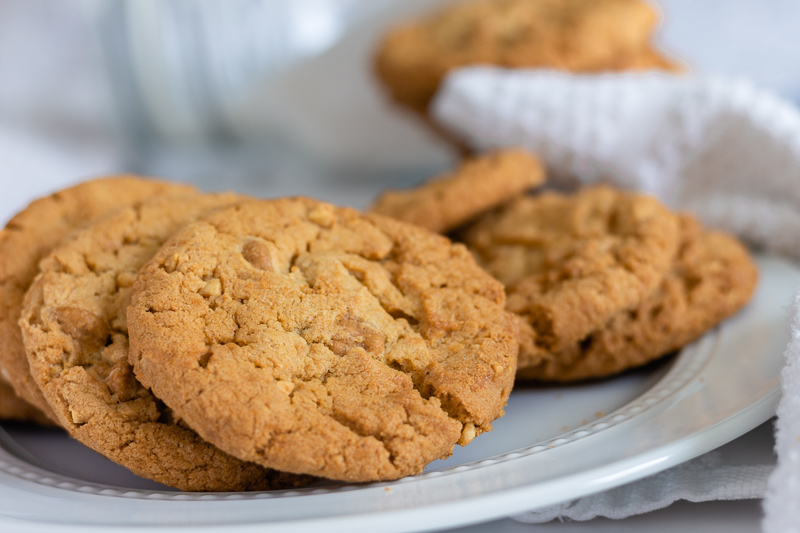 Egg-free peanut butter cookies on a plate.