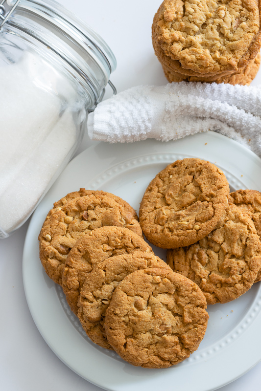 Eggless peanut butter cookies stacked.